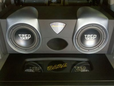 Custom subwoofer enclosure with TREO RSX Subwoofers & Amplifier Rack with TREO RSX Amplifiers